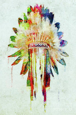 Mixed Media - Colorful Lakota Sioux Headdress by Olga Hamilton