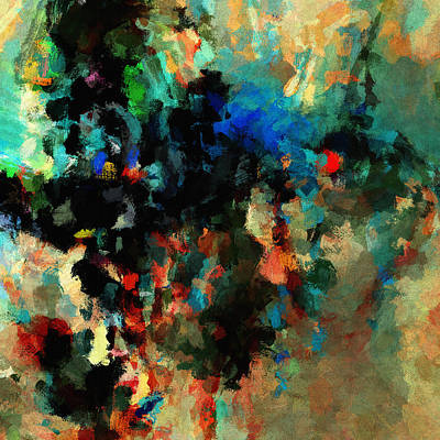 Modern Abstract Painting - Colorful Landscape / Cityscape Abstract Painting by Inspirowl Design