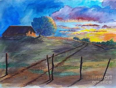 Texas Farm House Painting - Colorful Landscape by Don Hand