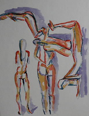 Representative Abstract Drawing - Colorful Layered Nudes by Whitney Christmas
