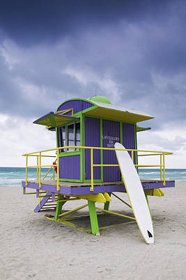 Colorful Lifeguard Station And Surfboard Art Print by Jeremy Woodhouse