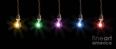 Photograph - Colorful Light Bulbs by Sharon Dominick