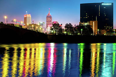 Photograph - Colorful Lights Of Indianapolis Skyline Nights by Gregory Ballos