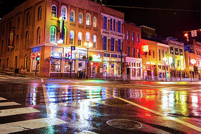 Colorful Lights Of The Music City - Nashville Tennessee  Art Print