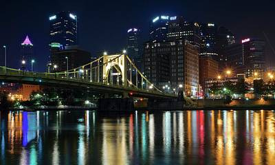 Roberto Clemente Photograph - Colorful Lights On The Allegheny by Frozen in Time Fine Art Photography
