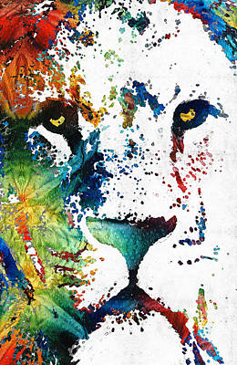 Colorful Lion Art By Sharon Cummings Art Print by Sharon Cummings