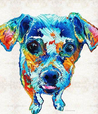 Colorful Little Dog Pop Art By Sharon Cummings Art Print by Sharon Cummings