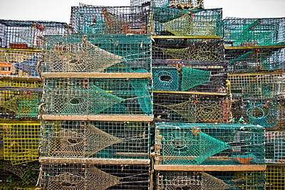 Colorful Lobster Traps Art Print by Colleen Kammerer