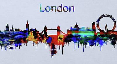 Westminster Abbey Mixed Media - Colorful London Skyline Silhouette by Dan Sproul