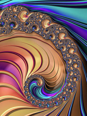 Colorful Luxe Fractal Spiral Art Print by Matthias Hauser