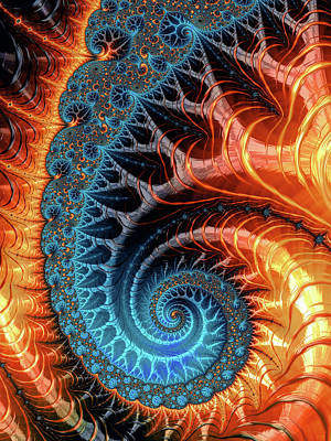 Colorful Luxe Fractal Spiral Turquoise Brown Orange Art Print