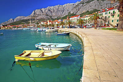 Fine Dining - Colorful Makarska boats and waterfront under Biokovo mountain vi by Brch Photography