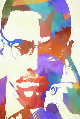 Malcolm X Wall Art - Painting - Colorful Malcolm X by Dan Sproul