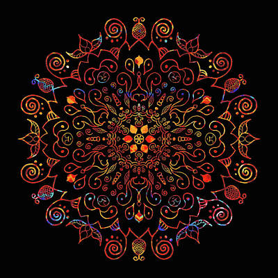 Digital Art - Colorful Mandala With Black by Patricia Lintner