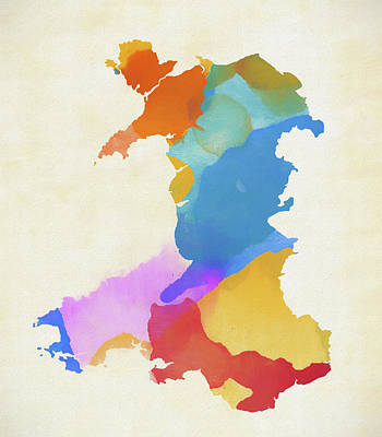 Painting - Colorful Map Of Wales by Dan Sproul