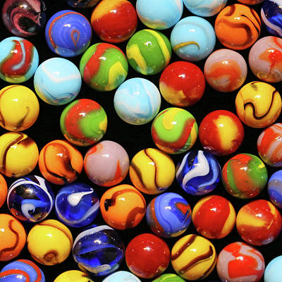 Photograph - Colorful Marbles 2 Square 071518 by Mary Bedy