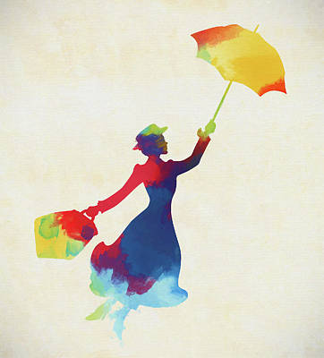 Painting - Colorful Mary Poppins by Dan Sproul