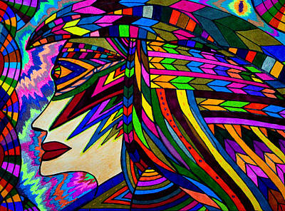 Painting - Colorful Mask And Hair Display - Abstract Energy by Marie Jamieson