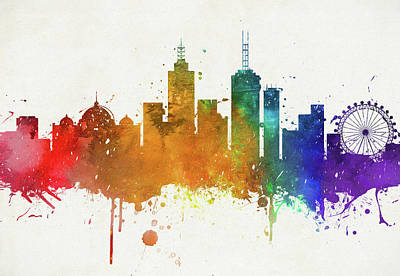 Painting - Colorful Melbourne City Skyline by Dan Sproul