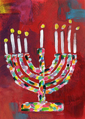 Candles Painting - Colorful Menorah- Art By Linda Woods by Linda Woods