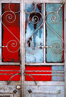Photograph - colorful Mexico abstract photography - Red White and Blue Door by Sharon Hudson