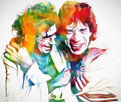 Music Paintings - Colorful Mick And Keith by Dan Sproul