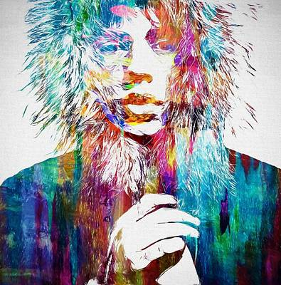 Music Paintings - Colorful Mick Jagger by Dan Sproul