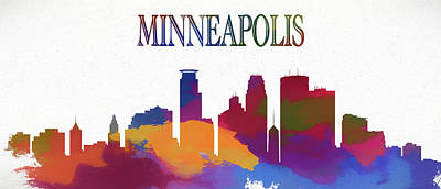 Painting - Colorful Minneapolis Skyline by Dan Sproul