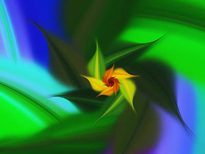 Abstract Digital Art Mixed Media - Colorful Modern Abstract Flower by Georgiana Romanovna