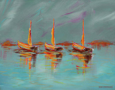 Painting - Colorful Modern Sailboat Painting Blue by Ken Figurski