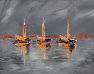 Painting - Colorful Modern Sailboat Painting Grey by Ken Figurski