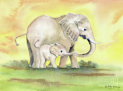 Painting - Colorful Mom And Baby Elephant 2 by Melly Terpening