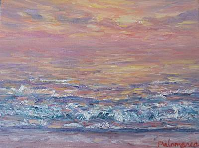Painting - Colorful Monet Style Beach Sunset Painting by Amber Palomares