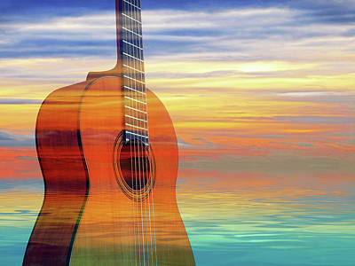 Photograph - Colorful Mood Guitar by Gill Billington