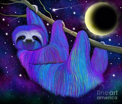 Sloth Digital Art - Colorful Moonlight Sloth by Nick Gustafson