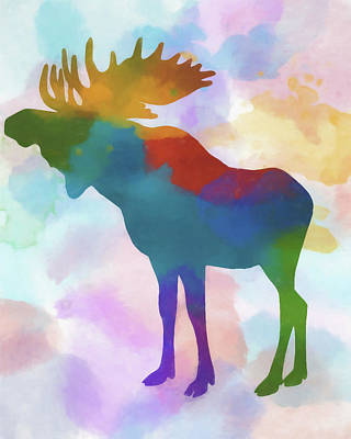Moose Watercolor Painting - Colorful Moose 2 by Dan Sproul