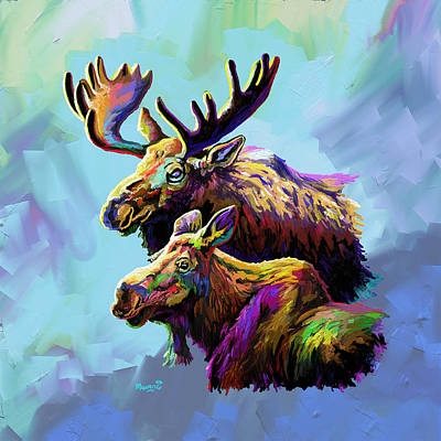 Painting - Colorful Moose by Anthony Mwangi