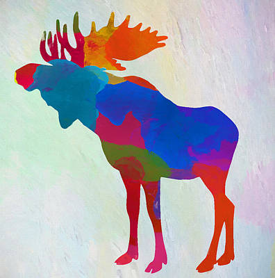 Moose Watercolor Painting - Colorful Moose by Dan Sproul