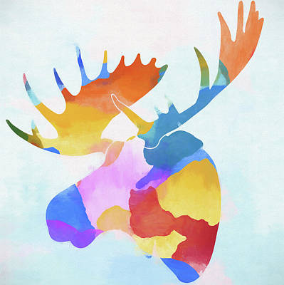 Moose Watercolor Painting - Colorful Moose Head by Dan Sproul
