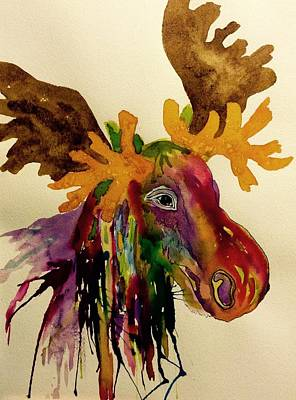 Jewel Tone Painting - Colorful Moose Head - Jewel Tone by Ellen Levinson