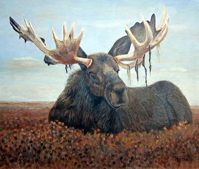 Brushy Painting - Colorful Moose by Monica Brown