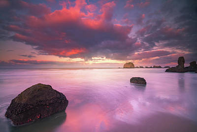 Photograph - Colorful Morning Clouds At Beach by William Lee