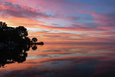 Photograph - Colorful Morning Mirror - Spectacular Sky Reflections At Dawn by Georgia Mizuleva