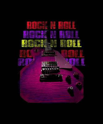 Photograph - Colorful Music Rock N Roll Guitar Retro Distressed T-shirt by Guitar Wacky