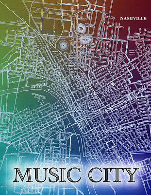 Mixed Media - Colorful Nashville Map Design by Dan Sproul