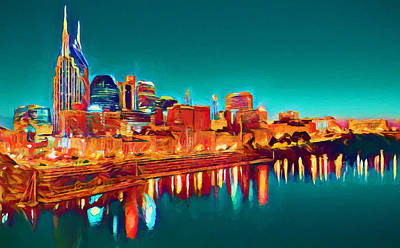 Cumberland River Painting - Colorful Nashville Skyline Reflection by Dan Sproul