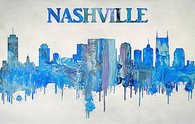 Downtown Nashville Painting - Colorful Nashville Skyline Silhouette by Dan Sproul