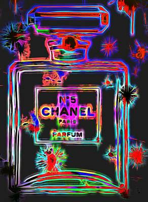 Icon Mixed Media - Colorful Neon Chanel Five  by Dan Sproul