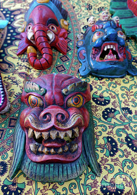 Photograph - Colorful Nepalese Masks by John  Mitchell