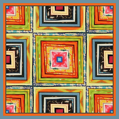 Bright Colours Mixed Media - Colorful Nested Squares by Bonnie Bruno